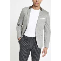 River Island Mens Grey skinny fit jersey blazer