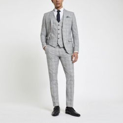 Mens River Island Light Grey check skinny fit suit trousers
