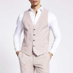 River Island Mens Pink textured slim fit suit waistcoat found on MODAPINS from RIver Island US for USD $80.00