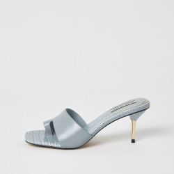 River Island Womens Blue toe loop mule heeled sandals found on MODAPINS from River Island - UK for USD $50.10