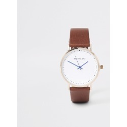 Mens River Island Light Brown gold tone face watch