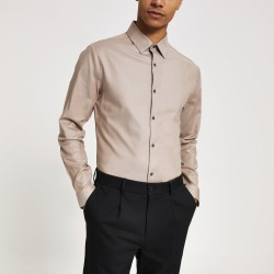Mens River Island Beige slim fit long sleeve shirt