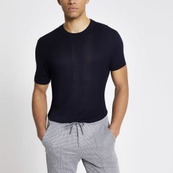 Mens River Island Maison Riviera Navy slim fit knitted T-shirt