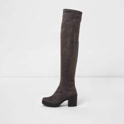 Womens Grey chunky sole over the knee boots found on MODAPINS from River Island - UK for USD $37.77
