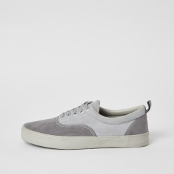 Mens River Island Grey blocked lace-up trainers