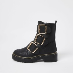 River Island Womens Black triple buckle high boots found on Bargain Bro UK from River Island - UK