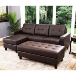 Claire Leather Reversible Sectional and Ottoman (Assorted Colors) found on Bargain Bro from  for $399