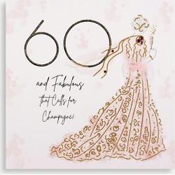 60 & Fabulous Champagne greetings card 16.5cm x 16.5cm