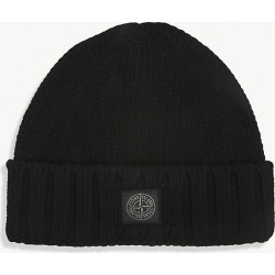 Logo-embroidered cab-knit wool beanie