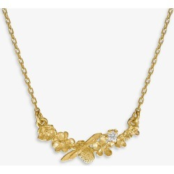 Alex Monroe Floral Curve 18ct gold and diamond necklace found on MODAPINS from Selfridges US for USD $820.00