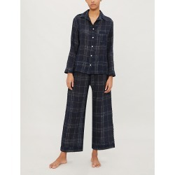 Windowpane check linen pyjama set found on Bargain Bro India from Selfridges US for $315.00