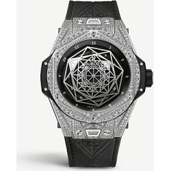 415.NX.1112.VR.1704.MXM17 Hublot Big Bang Sang Bleu diamond, titanium and leather watch found on MODAPINS from Selfridges US for USD $35420.00
