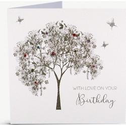 With Love on Your Birthday embellished tree greetings card 16cm x 16cm