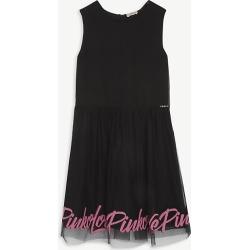 Logo print sleeveless tulle dress 8-16 years
