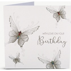 With Love On Your Birthday embellished greetings card 18cm x 16cm