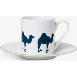 Camel porcelain espresso cup and saucer set