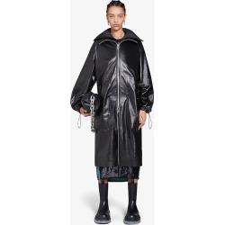 Shiny hooded leather coat