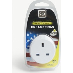 UK to Americas plug adapter with USB port