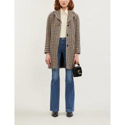 Houndstooth-patterned wool-blend coat