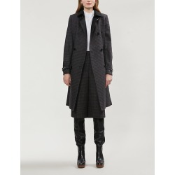 Checked wool-blend coat