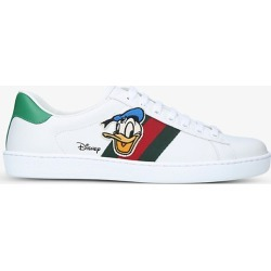 Women's Gucci x Disney New Ace Donald branded leather trainers found on Bargain Bro India from Selfridges US for $690.00