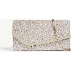 Emmie speckled glitter and suede clutch