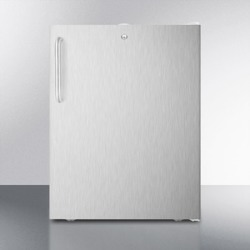 "ADA Compliant 20"" Wide Freestanding Refrigerator-freezer With A Lock, Stainless Steel Door, Towel Bar Handle and White Cabinet"