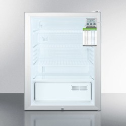 """ADA Compliant 20"""" Wide Commercial Glass Door Refrigerator for Freestanding Use, Auto Defrost With A Lock, Traceable Thermometer"""