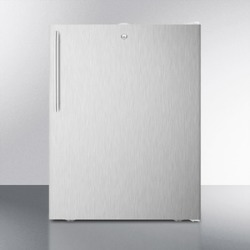 "ADA Compliant 20"" Wide Freestanding Refrigerator-freezer With A Lock, Stainless Steel Door, Thin Handle and White Cabinet"