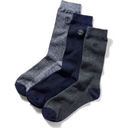 Timberland Three Pair Pique Crew Socks For Men In Blue Navy, Size M found on Bargain Bro UK from Timberland (UK)