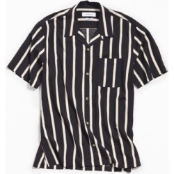 UO Sport Striped Rayon Short Sleeve Button-Down Shirt - Black S at Urban Outfitters found on Bargain Bro India from Urban Outfitters (US) for $49.00
