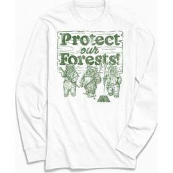 Star Wars Ewoks Protect Our Forests Long Sleeve Tee - White S at Urban Outfitters