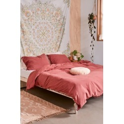 Washed Cotton Tassel Duvet Cover - Orange King at Urban Outfitters
