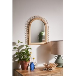 Priscilla Rattan Arch Wall Mirror - Beige at Urban Outfitters