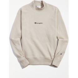 Champion UO Exclusive Script Logo Mock Neck Sweatshirt - Beige XL at Urban Outfitters