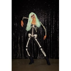 Glow-In-The-Dark Skeleton Bodysuit Halloween Costume - Black M at Urban Outfitters