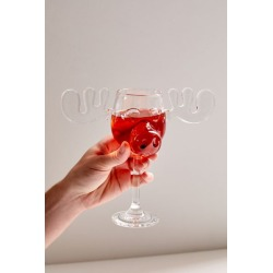 Marty Moose Wine Glass - Clear at Urban Outfitters