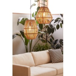 Bamboo Woven Pendant Light - Beige at Urban Outfitters