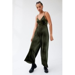 UO Molly Velvet Jumpsuit - Green L at Urban Outfitters