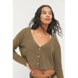 UO Cuddle Cardigan - Green L at Urban Outfitters