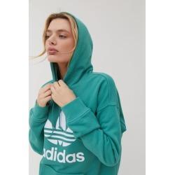 adidas Trefoil Hoodie Sweatshirt - Green L at Urban Outfitters