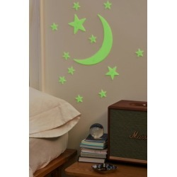 Glow-In-The-Dark Moon + Stars Set - Green at Urban Outfitters