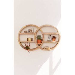 Dahlila Double Round Wall Shelf - Brown at Urban Outfitters