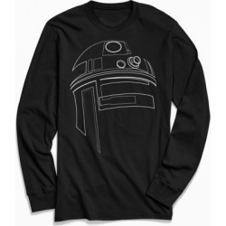 Star Wars R2-D2 Outline Long Sleeve Tee - Black L at Urban Outfitters