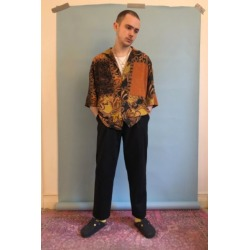 UO Orange & Black Paisley Patchwork Shirt found on Bargain Bro India from Urban Outfitters (US) for $59.00