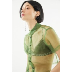 Urban Renewal Remnants Organza Button-Down Top - Green L at Urban Outfitters