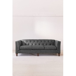 Graham Recycled Leather Sofa - Grey at Urban Outfitters