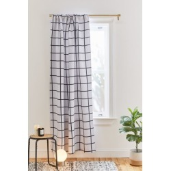 New Wave For Deny Modern Grid Room Darkening Window Panel - Black at Urban Outfitters found on Bargain Bro India from Urban Outfitters (US) for $89.00