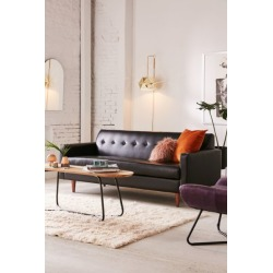 Sydney Recycled Leather Sofa - Black at Urban Outfitters