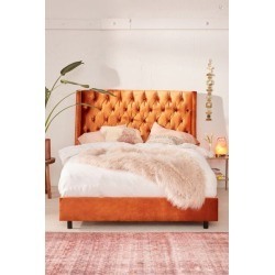 Charlotte Velvet Tufted Wingback Bed - Orange Queen at Urban Outfitters